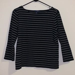 Chaps Black and White Stripped Long Sleeve Top